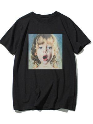 Lisa -BlackPink Baby Face Print Oversized T-Shirt (5)