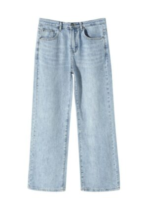 Lisa Light Blue High Waist Wide Leg Denim Pants (1)