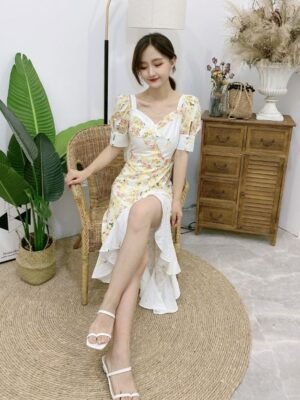 Rose Yellow And Whte Floral Ruffled Dress (10)