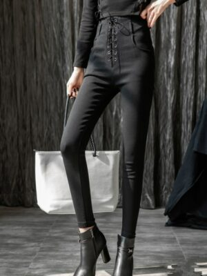 Irene Black High Waist Tie Fit Pants (1)