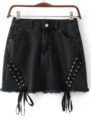 Jisoo Black Side Tie Denim Skirt (12)