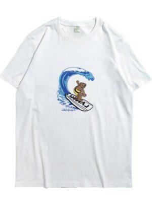 Seungmin Surfing Bear Print T-Shirt