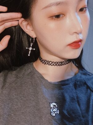 Irene – Red Velvet Silver Toned Cross Earrings (8)