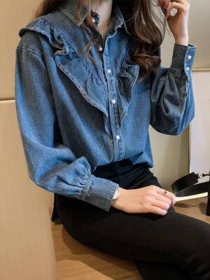 Jisoo – BlackPink Ruffled Denim Shirt (10)