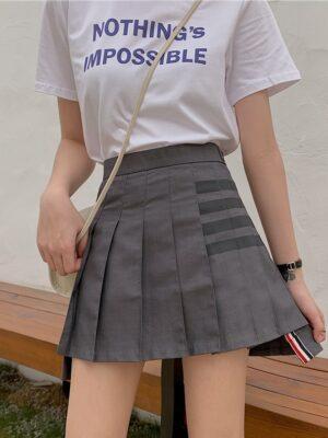 Joy – Red Velvet Grey Pleated Asymmetrical Skirt (5)