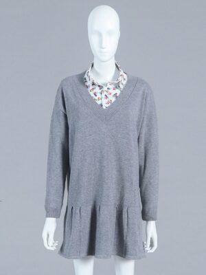 Lisa – BlackPink Grey Knitted Long Sleeve Dress (3)