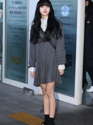 Grey Knitted Long Sleeve Dress | Lisa – BlackPink