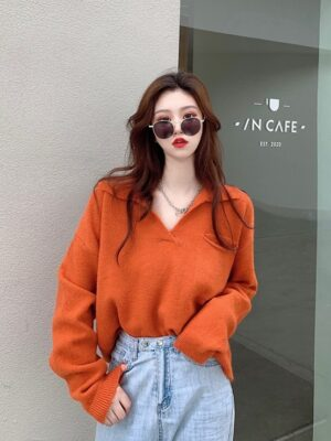 Hyungwon – MONSTA X Deep Orange Collared Sweater (16)