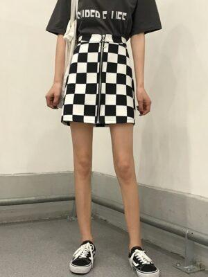 Lia – ITZY Checkerboard A-Line Skirt (6)