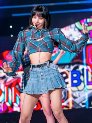 Plaid Two-Piece Cropped Shirt | Lisa – BlackPink