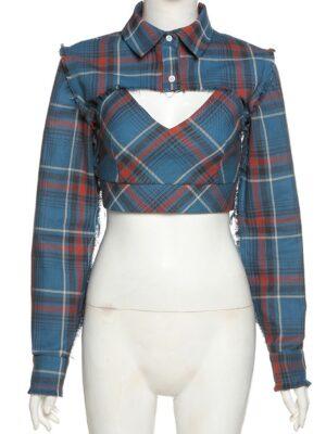 Lisa – BlackPink Plaid Two-Piece Cropped Shirt (9)