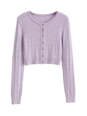 Yeri – Red Velvet Lilac Knitted Cardigan (4)