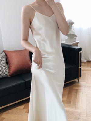 Irene – Red Velvet White Silk Dress (12)