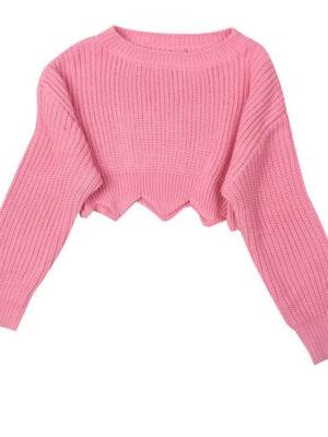 Lisa Pink Wavy Hem Crop Sweater (2)