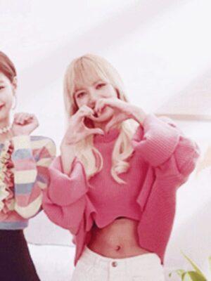 Pink Wavy Hem Crop Sweater | Lisa – BlackPink
