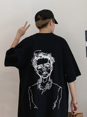 Taehyung- BTS Black Oversized T-Shirt With Man Sketch Print (22)