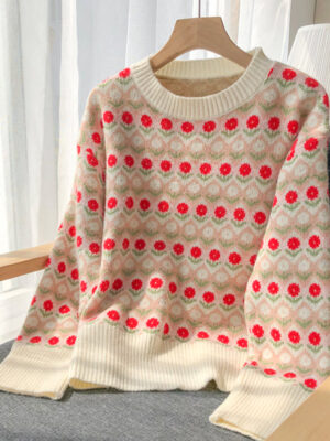 Tzuyu Red Daisy Pattern Sweater (1)