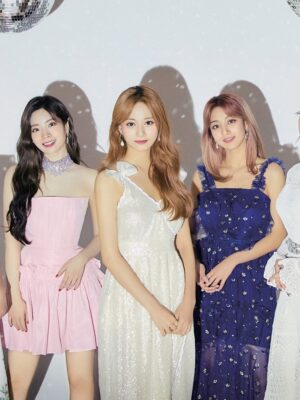 Sparkling Beige Dress With Bow | Tzuyu – Twice