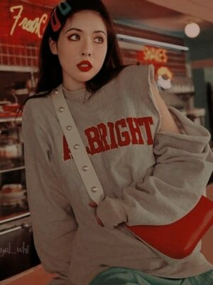 One Side Cut Albright Grey Sweatshirt | Hyuna