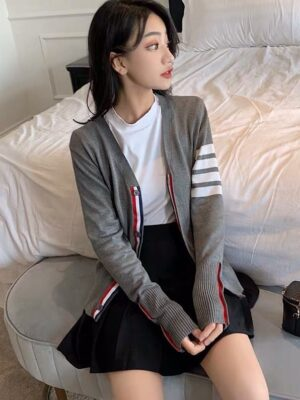 Lee Su Ho – True Beauty Grey Cardigan With Stripes (6)