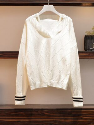 Yugyeom – GOT7 White Knitted Sweater With Strap (6)