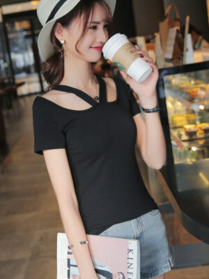 Chaeyoung Black Halter Designed T-Shirt (1)