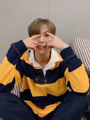 Yellow And Blue Stripe Patterned Polo Shirt | Doyoung – NCT