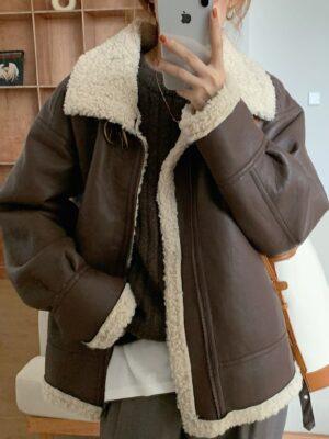 Han Seo Jun – True Beauty Brown Leather Wool Lining Jacket (19)
