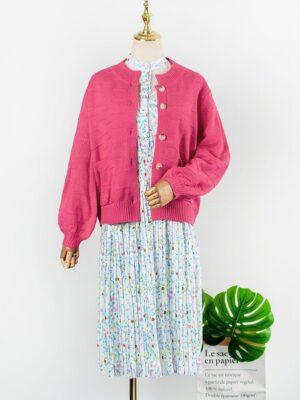 Hyuna – Pink Knitted Cardigan (4)