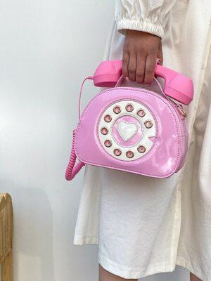 Hyuna – Pink Retro Telephone Sling Bag (19)