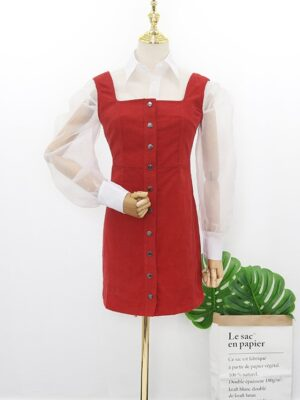 Hyuna – Red Corduroy Dress (1)