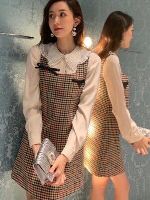 Irene – Red Velvet – Ckeckered Suspender Dress (4)