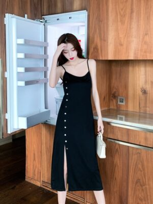 Jennie – BlackPink Black Front Slit Dress (15)
