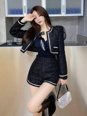 Jennie – BlackPink Sparkling Black Tweed Jacket (13)