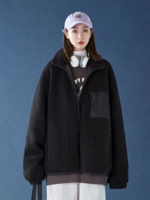 Jimin Black Lamb Wool Hooded Jacket (5)
