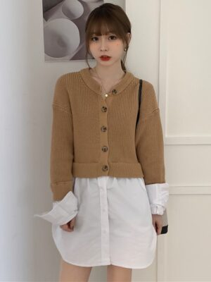 Jisoo – BlackPink Khaki Cardigan With Fake Inner Shirt (21)