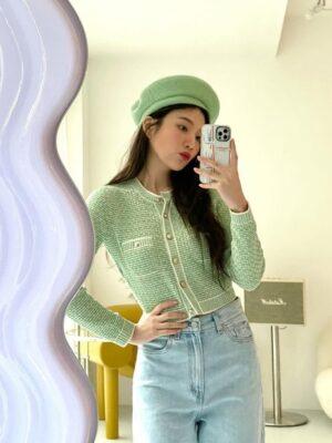 Green Tweed Cropped Cardigan   Joy – Red Velvet