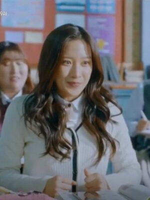 White V-Neck Knitted Cardigan | Lim Joo Kyung – True Beauty