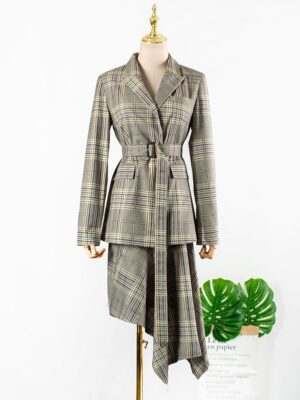 Oh Soo Ah – Itaewon Class Plaid Patterned Suit Jacket With Belt (16)