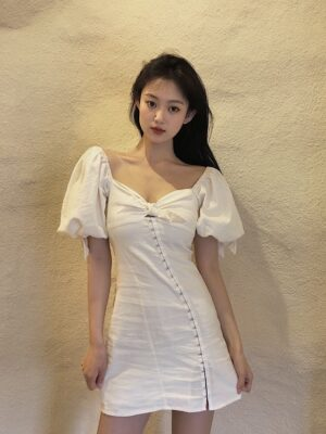 Seulgi – Red Velvet White Puffed Sleeve Hook Dress (34)