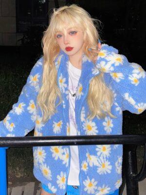 Choi Soo Ah – True Beauty Blue Lamb Wool Daisy Jacket (3)