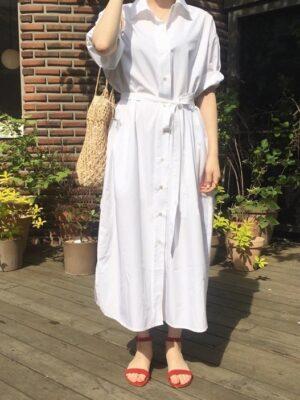 Dahyun – Twice Belted White Shirt Dress (17)