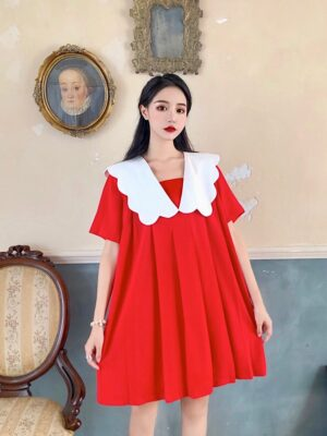 Dahyun – Twice Doll Collar Red Pleated Mini Dress (52)