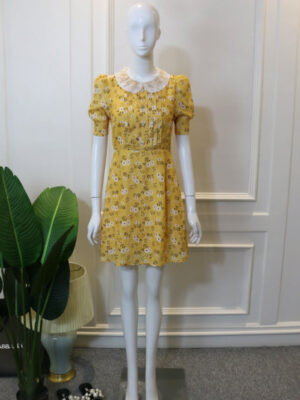 Gowon Yellow Doll Collar Floral Dress (2)