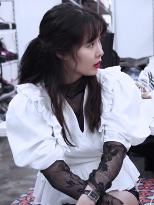 White Ruffle Detail Peplum Top | Hyuna