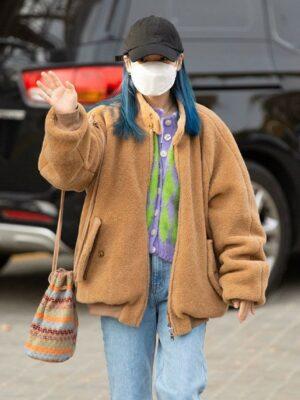 Brown Wool Plush Jacket | IU