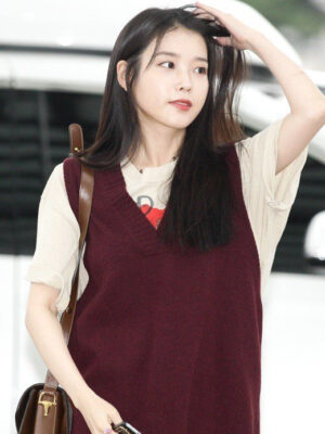 Red V-Neck Vest | IU
