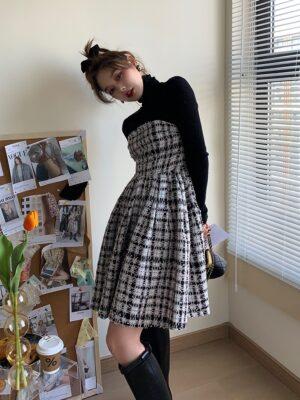Jennie – Blackpink Long Sleeve Plaid Tweed Dress (3)