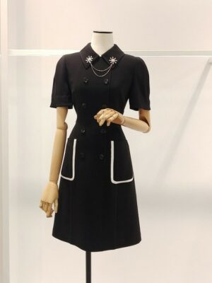 Jisoo – Black Collared Double Breasted Dress (3)