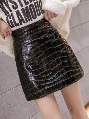Joy – Red Velvet Black Leather Animal Skin Skirt (2)